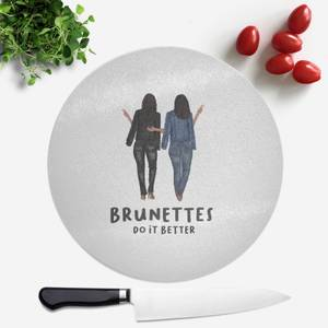 Pressed Flowers Brunettes Do It Better Round Chopping Board