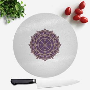 Pressed Flowers Wheel Of Fortune Round Chopping Board