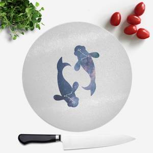 Pressed Flowers Pisces Round Chopping Board