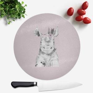 Pressed Flowers Indie Rhino Round Chopping Board