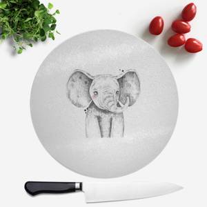 Pressed Flowers Cute Elephant Round Chopping Board