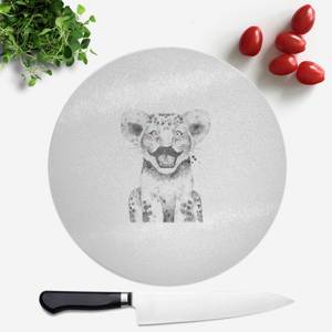 Pressed Flowers Moustache Cub Round Chopping Board