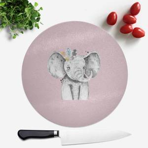 Pressed Flowers Indie Elephant Round Chopping Board