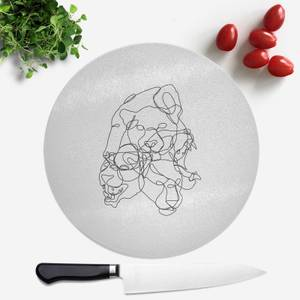 Pressed Flowers Leopard Scribble Round Chopping Board