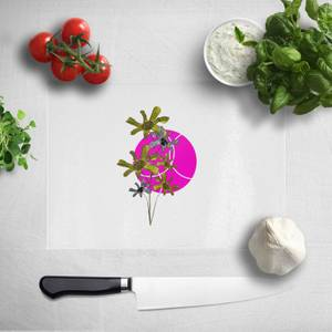 Pressed Flowers Hot Tone Flowers And Circles Chopping Board