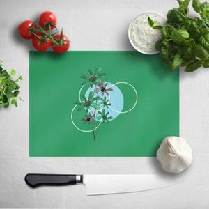 Pressed Flowers Cool Tones Flowers and Circles Chopping Board
