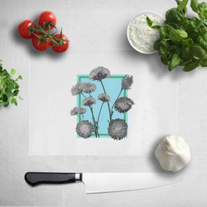 Pressed Flowers Cool Tones Framed Sketched Flowers Chopping Board