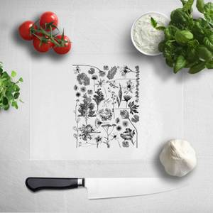 Pressed Flowers Monochrome All Over Flower Print Chopping Board