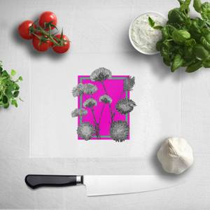 Pressed Flowers Hot Tones Framed Sketched Flowers Chopping Board