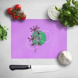 Pressed Flowers Feminine Sketch And Circle Print Chopping Board