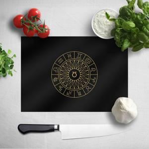 Pressed Flowers Decorative Horoscope Symbols Chopping Board