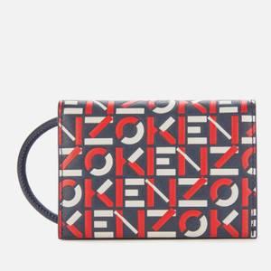 KENZO Women's Monogram Print Cardholder On Strap - Medium Red
