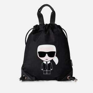 KARL LAGERFELD Women's K/Ikonik Nylon Flat Backpack - Black