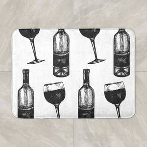 Red Wine And Bottle Bath Mat