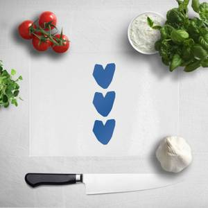Three Blue Hearts Chopping Board