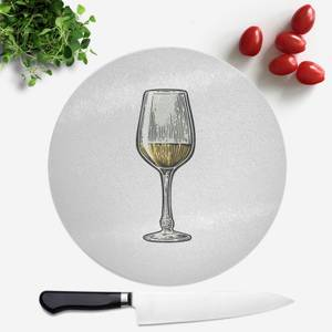 White Wine Round Chopping Board