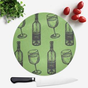 White Wine And Bottle Round Chopping Board