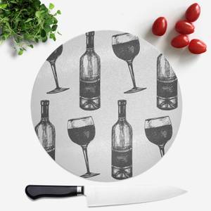 Red Wine And Bottle Round Chopping Board
