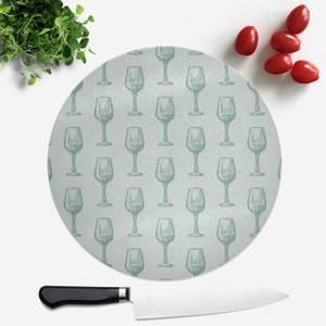 Wine Glass Pattern Round Chopping Board