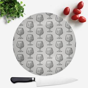 Whisky Glass Pattern Round Chopping Board