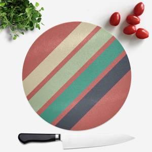 Green Retro Stripe Round Chopping Board