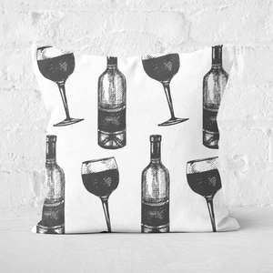 Red Wine And Bottle Square Cushion