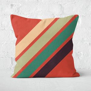Green Retro Stripe Square Cushion