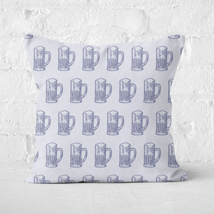 Beer Glass Pattern Square Cushion
