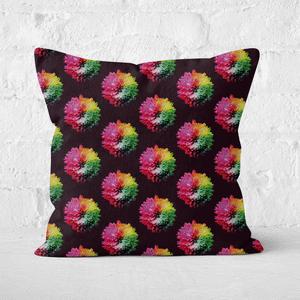 Fluro Flower Pattern Dark Square Cushion