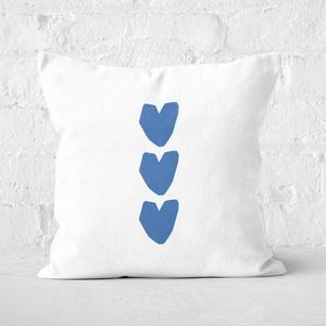 Three Blue Hearts Square Cushion