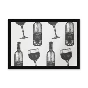 Red Wine And Bottle Entrance Mat