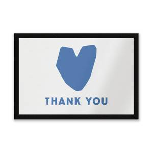 Blue Heart Thank You Entrance Mat