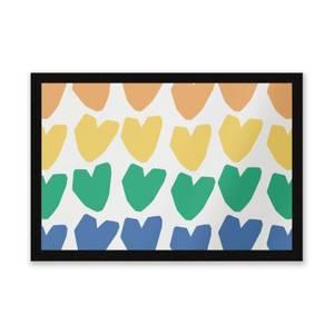 Rainbow Hearts Entrance Mat
