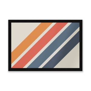 Blue Orange Retro Stripes Entrance Mat
