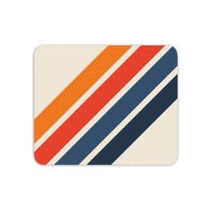 Blue Orange Retro Stripes Mouse Mat
