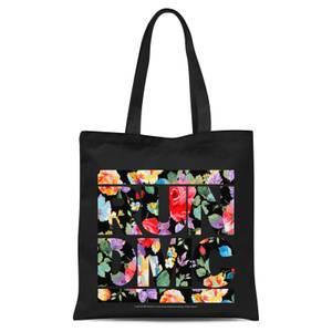 Floral RUN DMC Tote Bag - Black