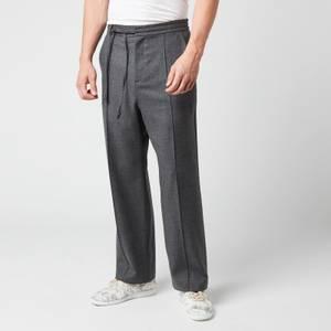 Maison Margiela Men's Wool Flannel Trousers - Grey Melange