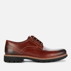 Clarks Men's Batcombe Hall Leather Derby Shoes - Dark Tan