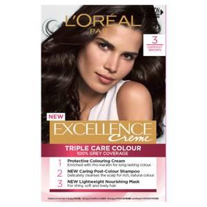 L'Oréal Paris Excellence Creme Permanent Hair Colour - Darkest Brown 3.0
