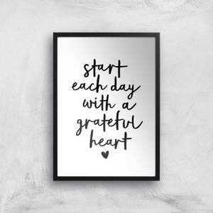 The Motivated Type Start Each Day With A Grateful Heart Handwritten Giclee Art Print