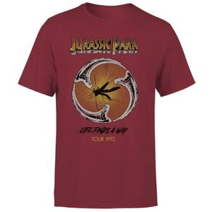 T-shirt Jurassic Park Life Finds A Way Tour - Bordeaux - Unisexe
