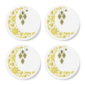 Eid Mubarak Pattern Moon And Lamps Coaster Set