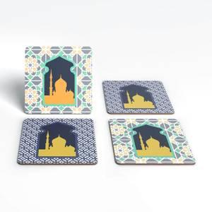 Eid Mubarak Print And Window Tiles Coaster Set
