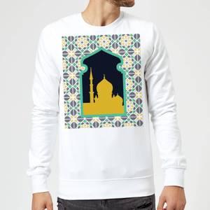 Eid Mubarak Earth Tone Print And Window Frame Sweatshirt - White