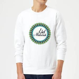 Eid Mubarak Peacock Coloured Wreath Sweatshirt - White
