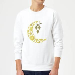 Eid Mubarak Pattern Moon Sweatshirt - White