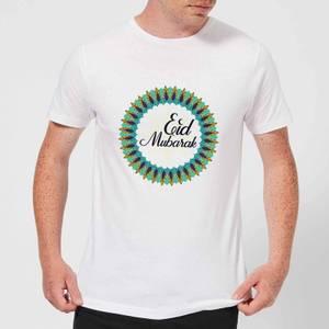 Eid Mubarak Peacock Coloured Wreath Men's T-Shirt - White