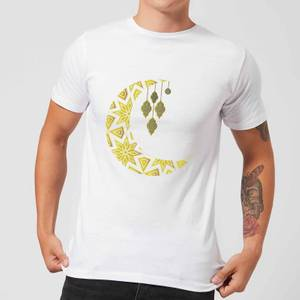 Eid Mubarak Pattern Moon Men's T-Shirt - White