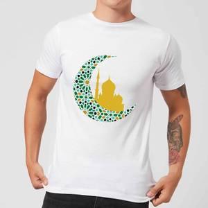 Eid Mubarak Patterned Moon And Golden Skyline Men's T-Shirt - White