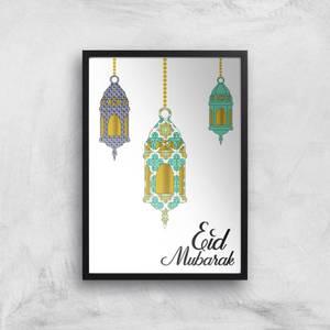 Eid Mubarak Lamps Giclee Art Print